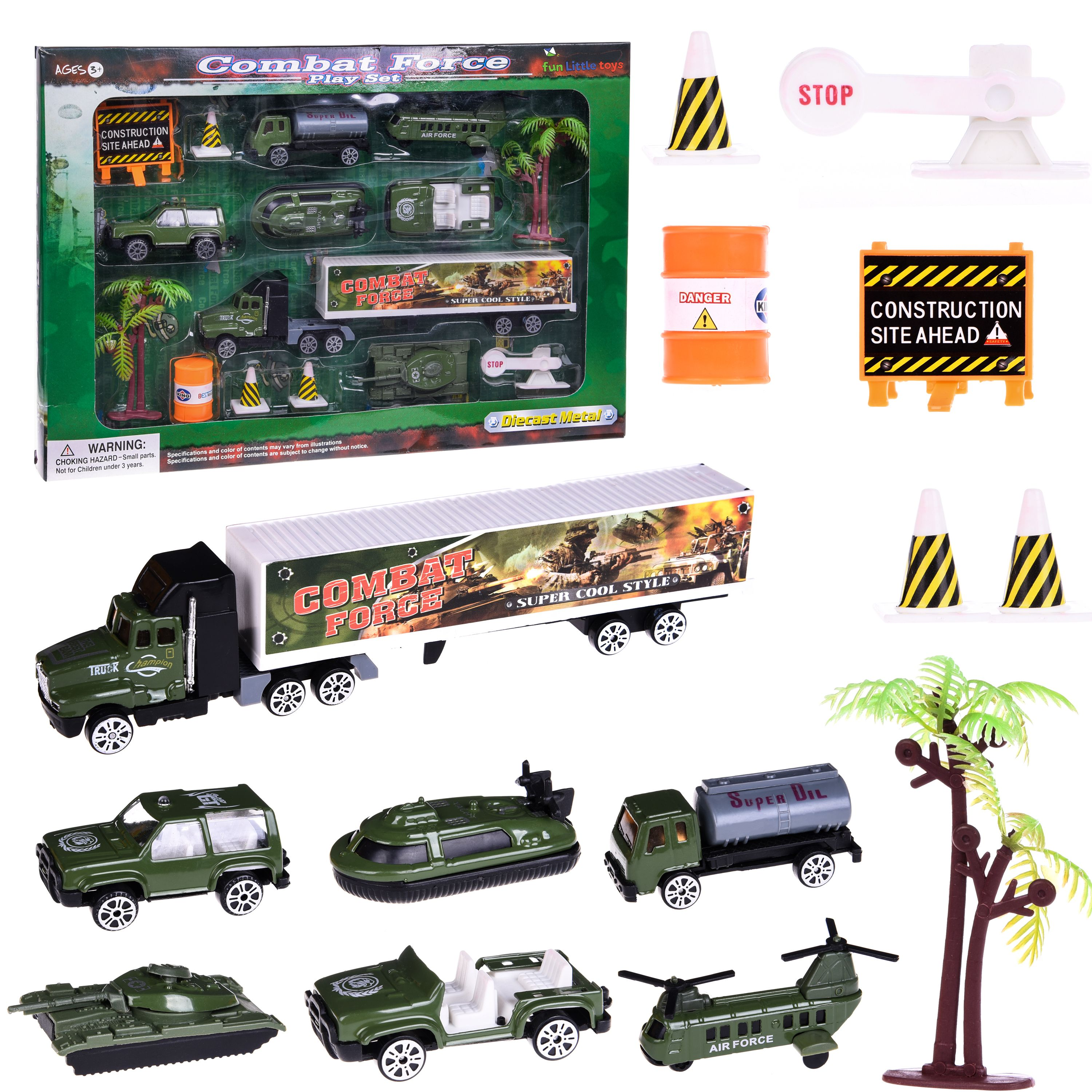 Boy's Army Man Military Soldiers Truck Hero Role Play Action Diecast Vehicle Play Set for Party Favors with Tank, Truck, SUV, Helicopter, jeep,Plane and Accessories - 14 pcs F-34