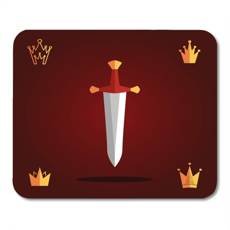 LADDKE Authority Antique Sword and Crown Flat Ancient King Symbols Aristocracy Broadsword Mousepad Mouse Pad Mouse Mat 9x10 inch