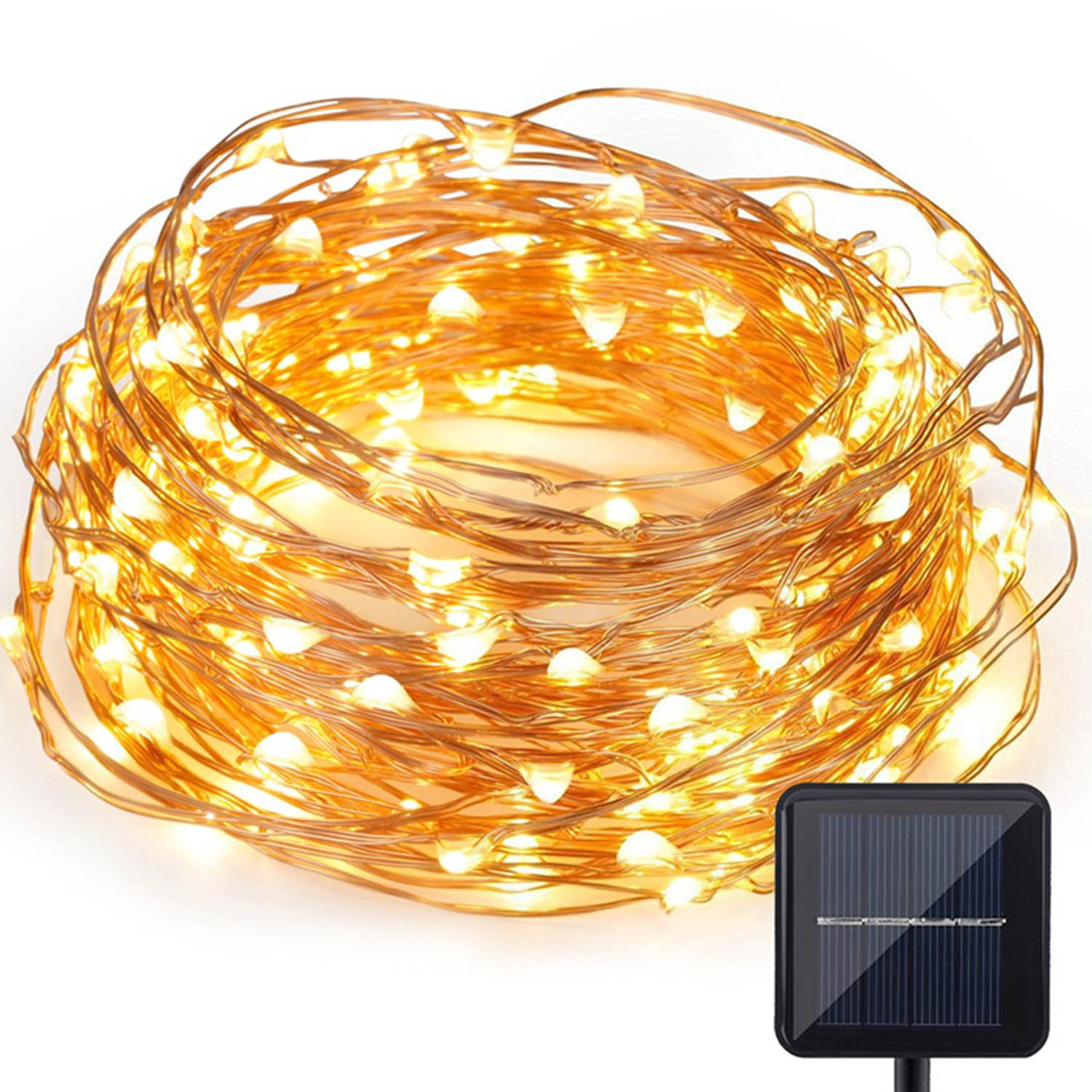 CoreLife Outdoor Solar Fairy Lights 66 ft. 200 Warm White LED String Light Copper Wire Weatherproof Waterproof Decorative Solar Powered Starry Fairy Lights