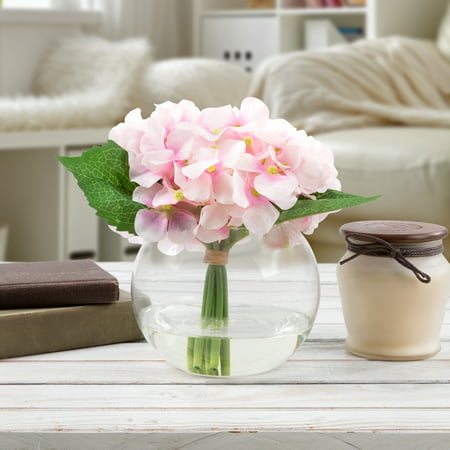 Hydrangea Artificial Fl Arrangement With Vase And Faux Water Fake Flowers For Home Decor