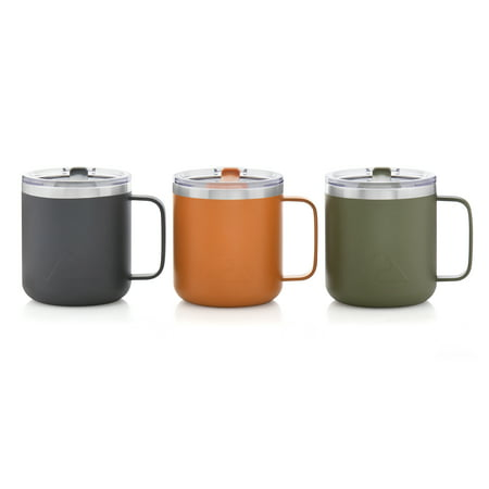 Ozark Trail 12oz Stainless Steel Mug, Set of 3 - greystone/orange crush/sea turtle