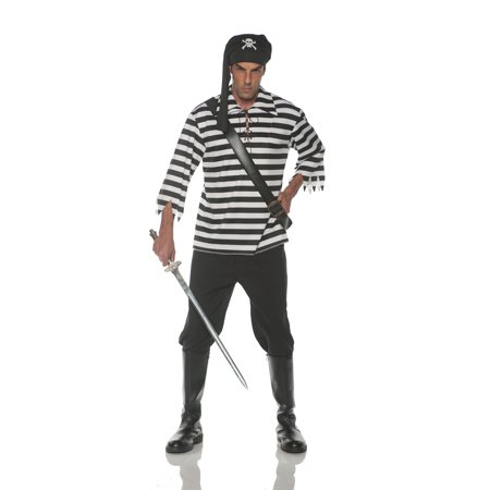 Halloween Stripping Costume (Black White Stripped Pirate Buccaneer Adult Costume Accessory)