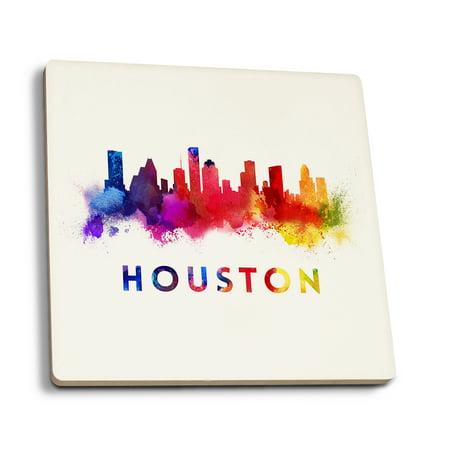 Houston, Texas - Skyline Abstract - Lantern Press Artwork (Set of 4 Ceramic Coasters - Cork-backed, (Children's Boutiques Houston)