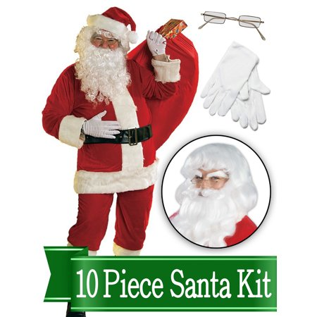 Santa Suit Complete Kit Red Ultra Velvet Deluxe Complete 10 Piece Kit - Santa Costume Outfit (Party City Santa Outfit)