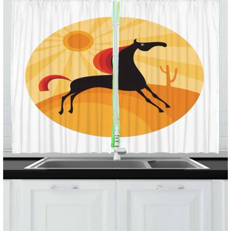 Horse Curtains 2 Panels Set, Abstract Animal Figure Running in the Desert Hot Summer Nature Landscape at Noon, Window Drapes for Living Room Bedroom, 55W X 39L Inches, Multicolor, by Ambesonne](The Living Desert Halloween)