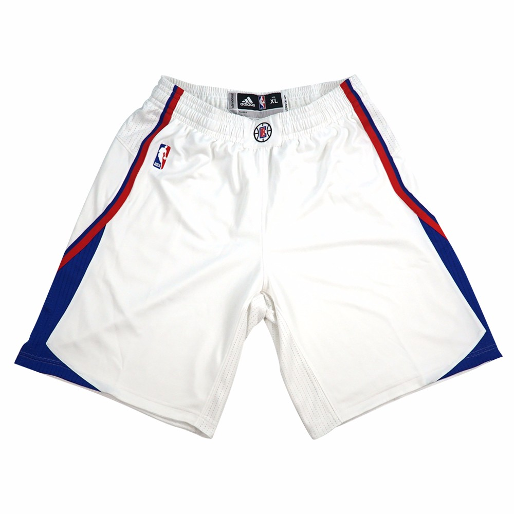 Los Angeles Clippers NBA Adidas White Authentic On-Court Team Issued Home Pro Cut Game Shorts For Men