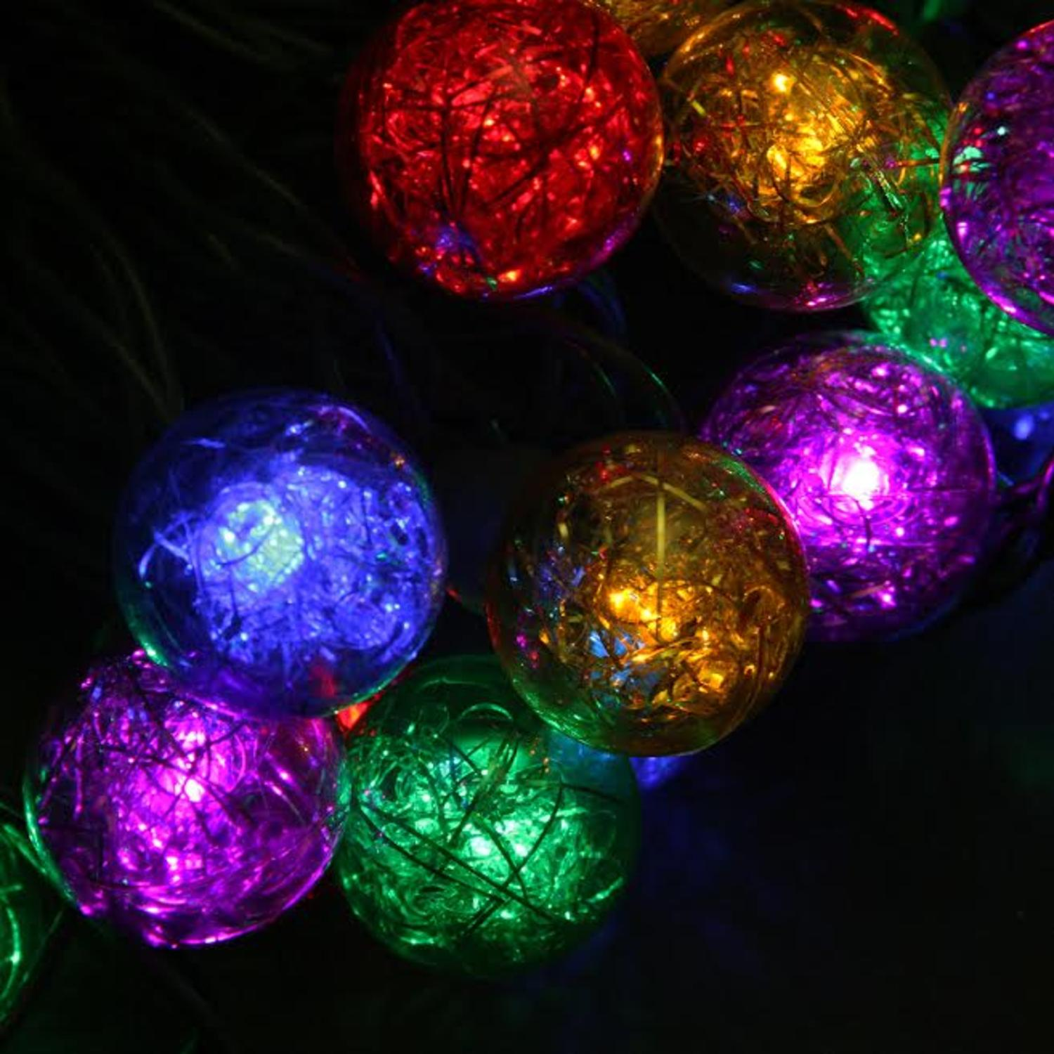 Set of 25 Multi-Color Tinsel Wide Angle LED G30 Globe Christmas ...