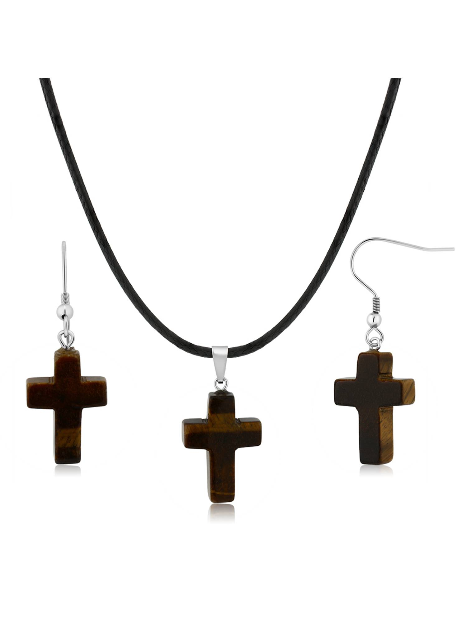 Gorgeous Tigers Eye Cross Necklace Set With Matching Tigers Eye Stone Earrings