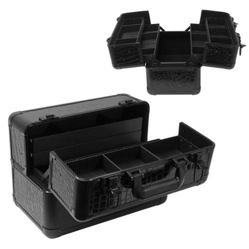 Hard Case Dual Compartment Travel Makeup Box, BLACK CROCODILE, 200
