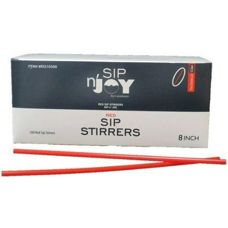 Red Stirrers (Crystalware 500ct Red Plastic Stirrers, 8in, For Coffee and Cocktail )