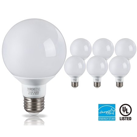 TORCHSTAR G25 Globe LED Light Bulb, 5W (40W Equiv.) 3000K Warm White E26 Medium Base, Pack of 6 ()