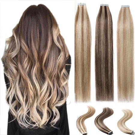 S-noilite 16-22inch 100% Remy Tape in Human Hair Extensions Double Side Tape Seamless Skin Weft Natural Hair Extensions Long Straight Silky light brown & bleach blonde-22