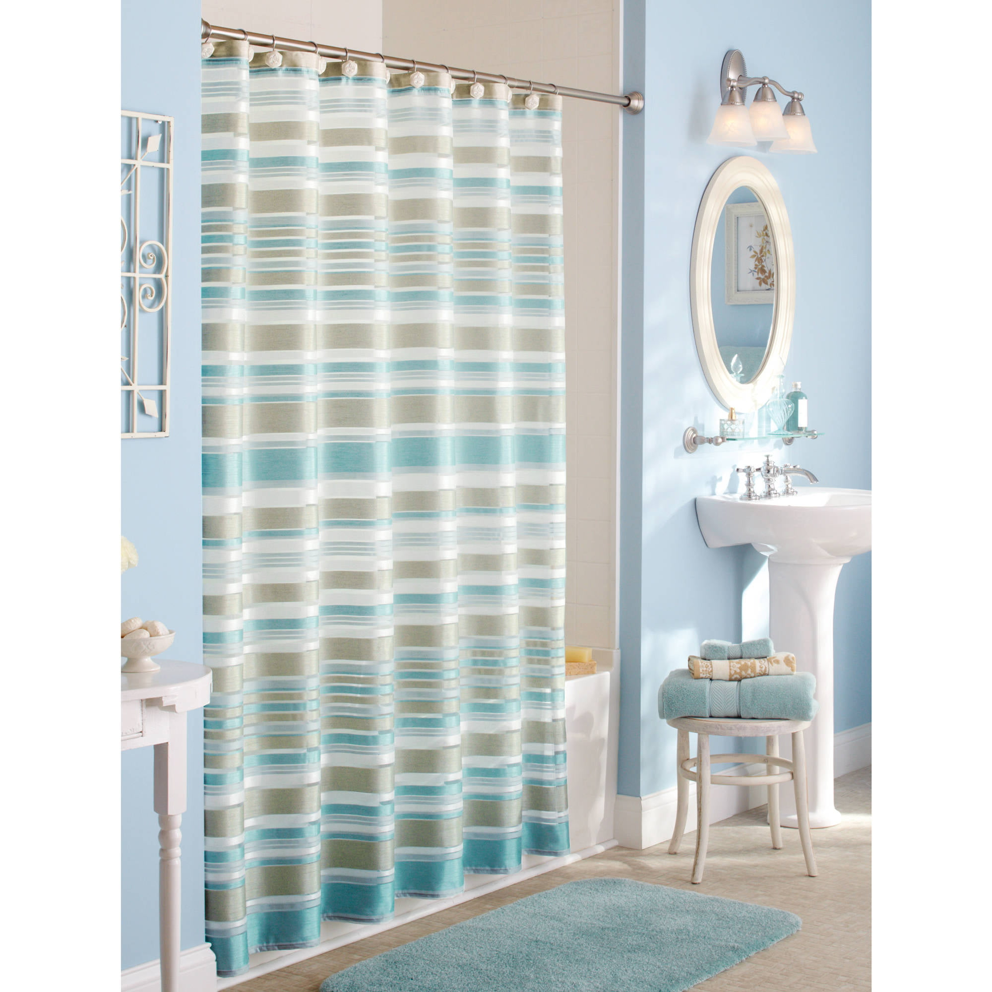 teal striped shower curtain. Better Homes and Gardens Classic Stripe Fabric Shower Curtain  Walmart com