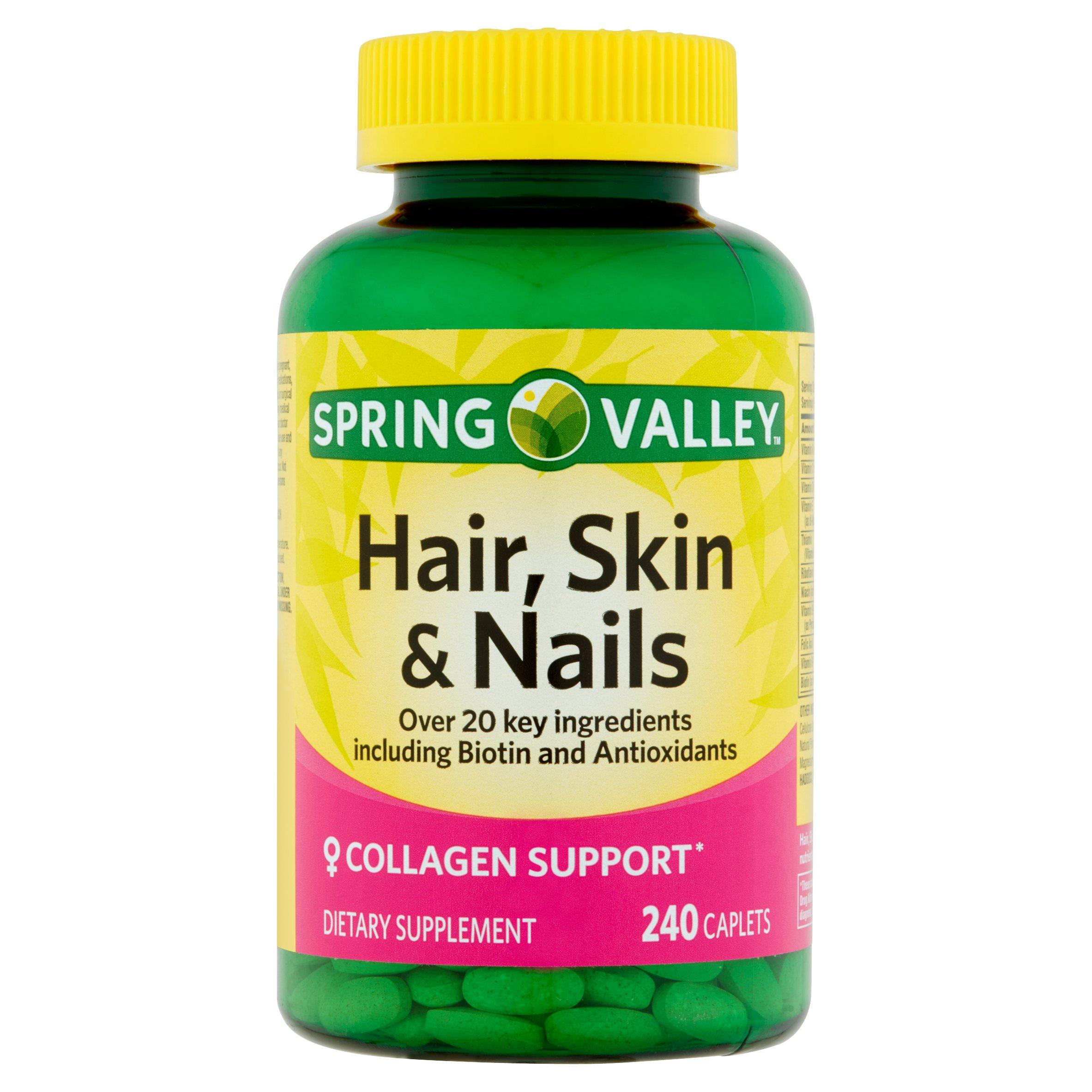 Spring Valley Hair, Skin & Nails Plus Biotin Caplets, 3000 mcg 240 ...
