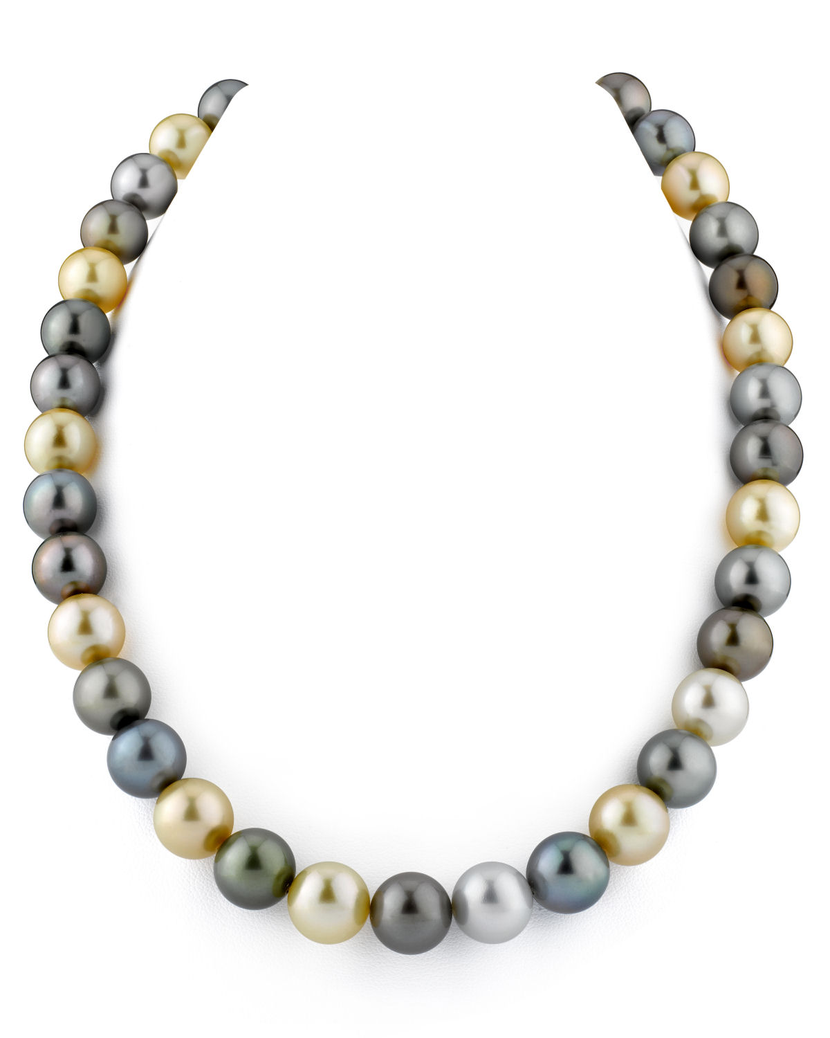 14K Gold 11-12mm Tahitian & Golden Multicolor Cultured Pearl Necklace AAAA Quality by The Pearl Source