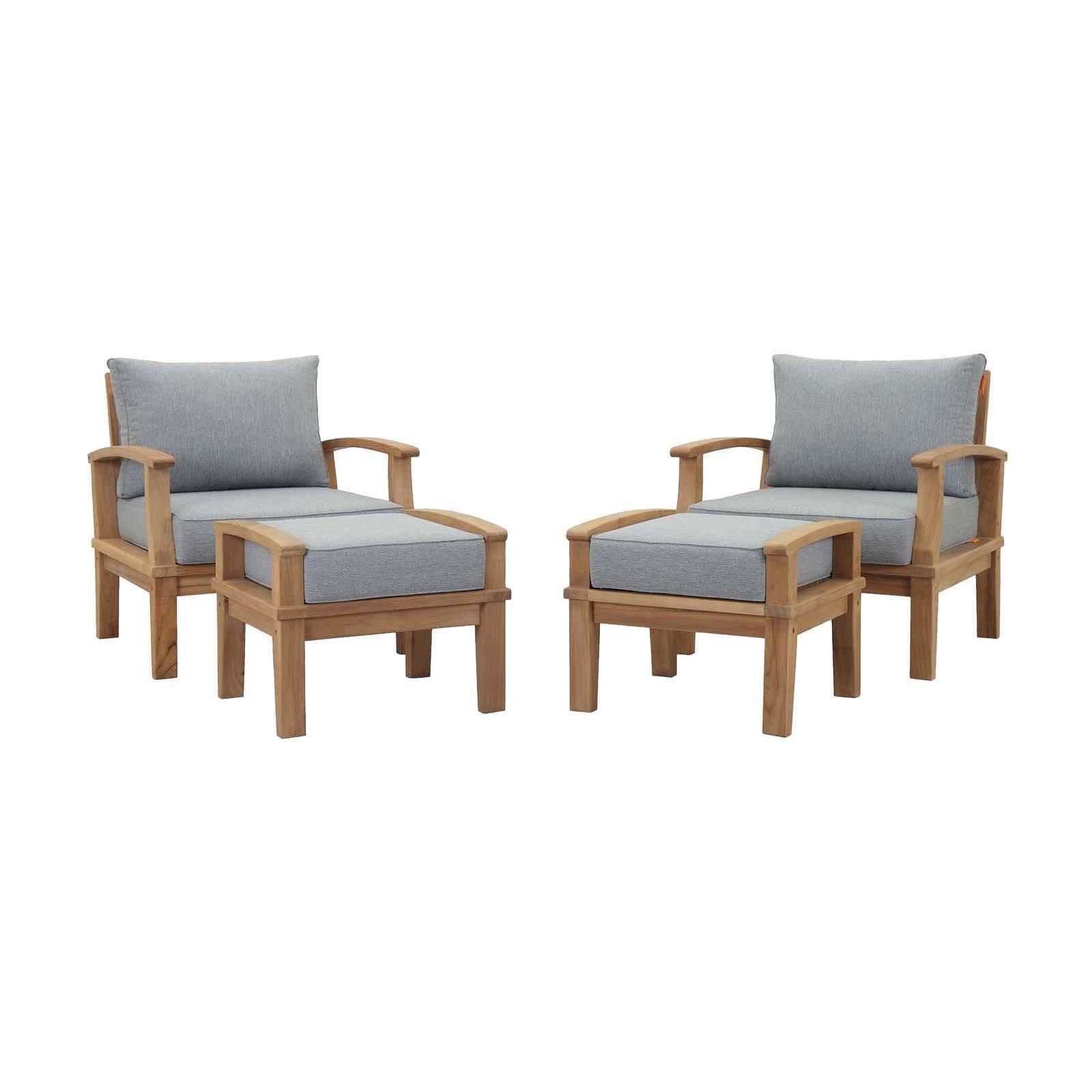 Modway Marina 4 Piece Outdoor Patio Teak Sofa Set in Natural White