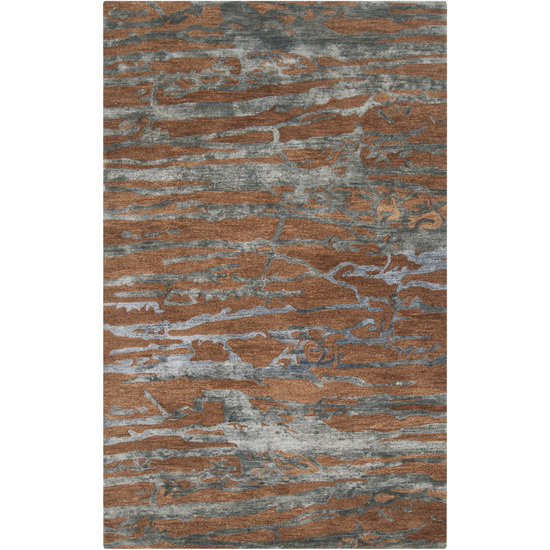 8' x 11' Grotto Mountain Rock Sepia and Slate Blue Wool Area Throw Rug