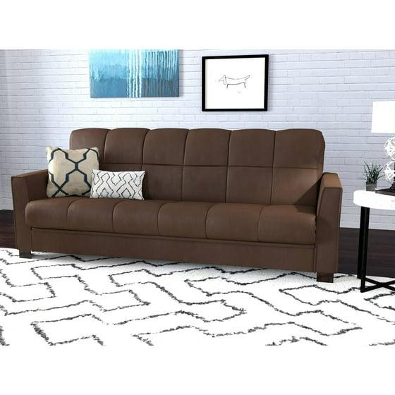Living Room Furniture Futons Mainstays Sofa Sleeper Brown