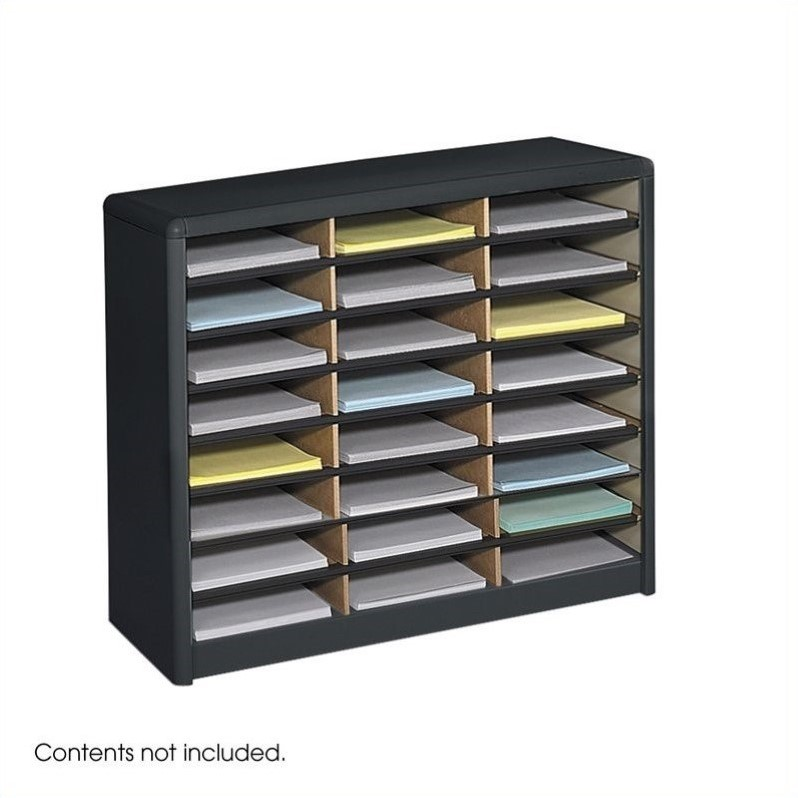 Scranton & Co 24 Compartment Metal Flat Files Organizer in Black