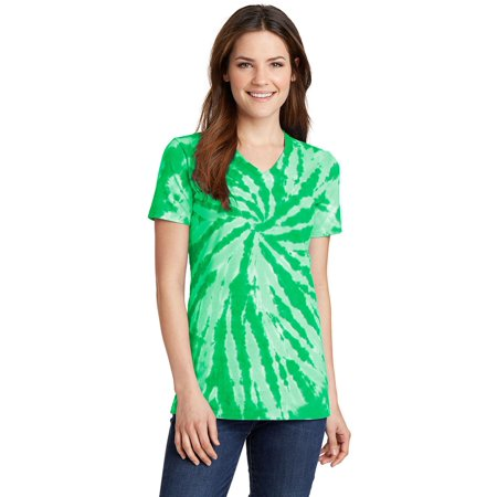 Port & Company Ladies Tie-Dye V-Neck (Medium Tie Dye Shirt)