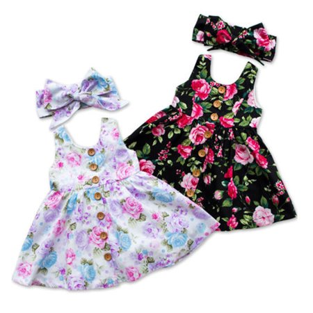 Baby Girls Princess Dress Toddler Kids Sleeveless Floral Party Tulle Dress Lace Tutu Skirts+Headband Black 6-12 Months](Black Tutu Party City)