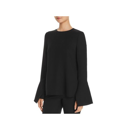 Lafayette 148 New York Womens Jasmia Silk Bell Sleeves Blouse Black S Silk Bell Sleeve