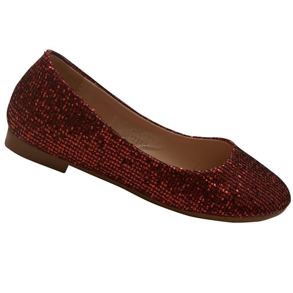 Bella Marie Girls Red Glitter Texture Ballerina Slip On Flats 11-4 Kids
