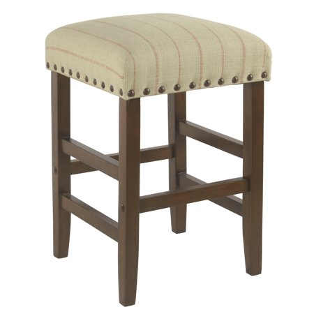 "HomePop 24"" Open Back Counter stool with nailheads, Multiple Colors"