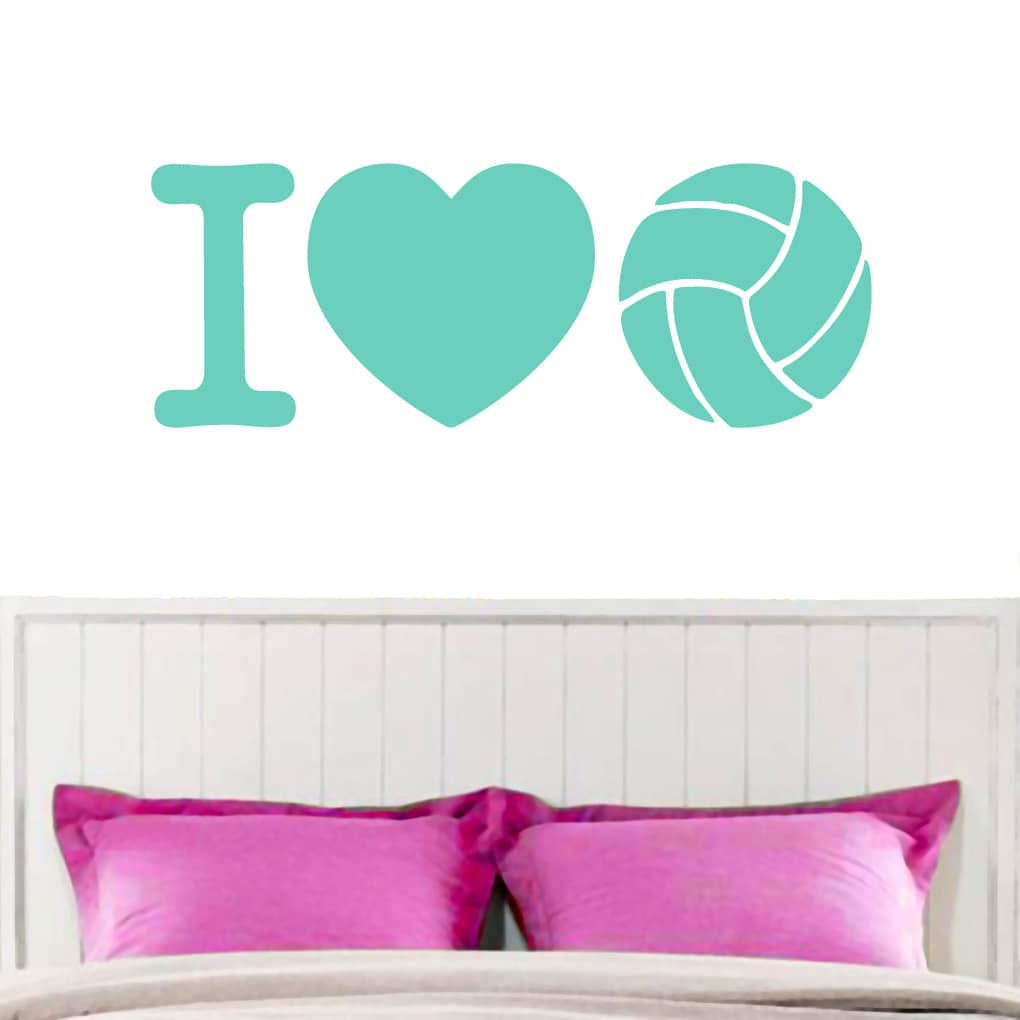 I Love Volleyball Wall Decal 36-inch x 13-inch CREAMY YELLOW