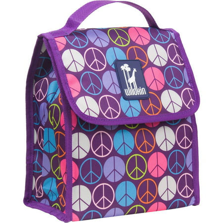 Wildkin Peace Signs Purple Lunch Bag