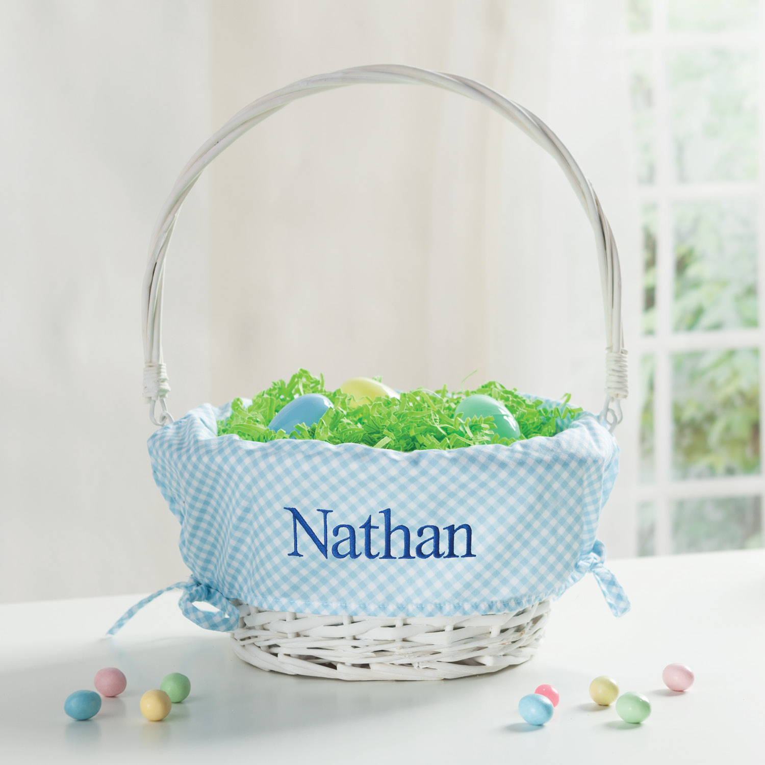 Personalized Wicker Easter Basket – Blue Liner