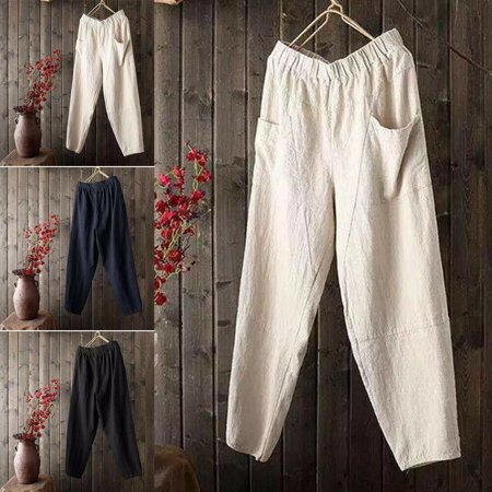 Mens Linen Cotton Loose Pants Beach Drawstring Yoga Casual Long Slacks Trousers Cotton Stretch Drawstring Pant