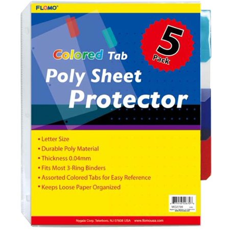 5 pack Poly Sheet Protectors with Colored Tabs(Pack of 48 ...
