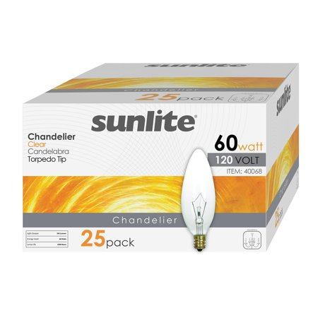 - 25 Pack of Sunlite 60 Watt Incandescent Chandelier Bulb, Candelabra (E12) Base, Soft White (3200K), Clear, Torpedo Tip, Classic & Beautiful Natural Light Appearance 100 CRI