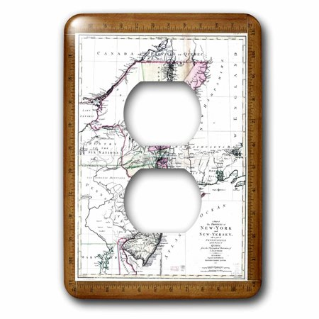 3dRose Antique 1771 Map Of New York n New Jersey - 2 Plug Outlet Cover (New Jersey Outlets Stores)