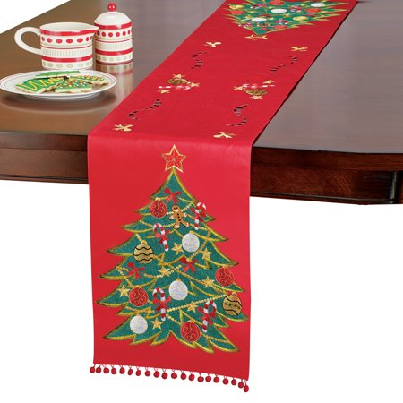 Christmas Table Runner.Embroidered Holiday Tree With Ornaments Red Christmas Table Runner Linen Decorative Pom Pom Trim
