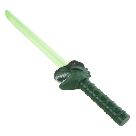 T Rex Pretend Play Green Light up Sword, Blade for Kids, with Light Up Teeth and Sword, It makes Dinosaur Sound! Tyrannosaurus, Batteries Included! - Sword Sound