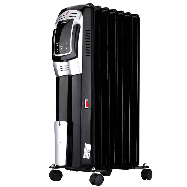 Electric Oil Filled Radiator Heater, Full Room Oil Heater with LED Display Screen, 24-Hour Timer and Remote Control, Electric Space Heater, Black, 1500W