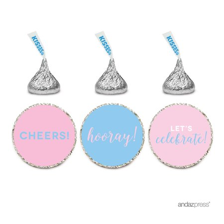 Signature Pink and Blue Gender Reveal Baby Shower, Chocolate Drop Stickers, Cheers! Hooray! Let's Celebrate, - Gender Reveal Stickers