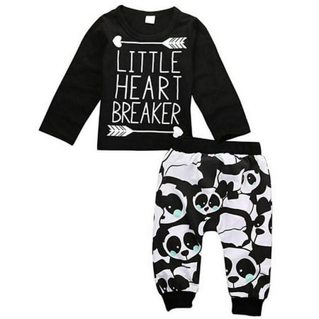 Baby Boy Girl Letter Long Sleeve Shirt Panda Legging Pant Outfit Set