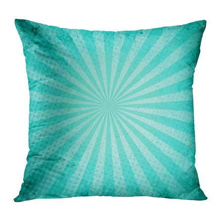 Turquoise Dot - ECCOT Teal Ray Blue Retro Burst and Halftone Watercolor Turquoise Vintage Dots Color Rustic PillowCase Pillow Cover 18x18 inch