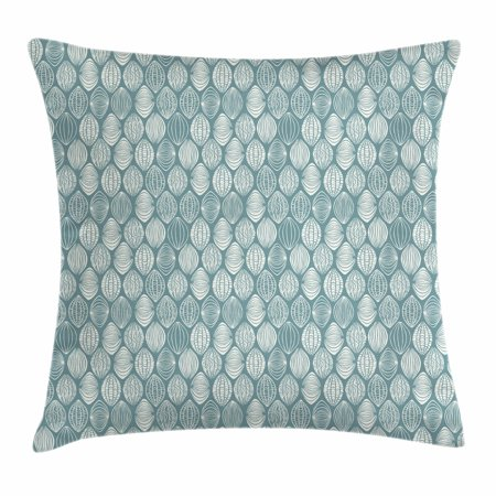 Geometric Throw Pillow Cushion Cover, Different Type of Oval Figures Doodle Round Leaf Textured Harvest Graphic, Decorative Square Accent Pillow Case, 20 X 20 Inches, Coconut Turquoise, by (Square Oval)