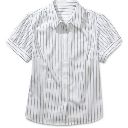d0bf33e1 George - Women's Plus Puff-Sleeve Button-Down Stripe Shirt - Walmart.com