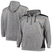 New Orleans Saints Profile Big & Tall Quarter-Zip Fleece Hoodie - Heathered Charcoal/Black