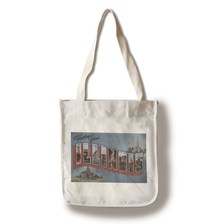 Greetings from Illinois (Blue) (100% Cotton Tote Bag - Reusable)