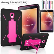 "EpicGadget Galaxy Tab A 8 Case (2017), Heavy Duty Rugged Impact Hybrid Case with Build In Kickstand Protection Cover For Galaxy Tab A 8.0"" SM-T380/T385 Tablet + Screen Protector + Pen (Black/Pink)"