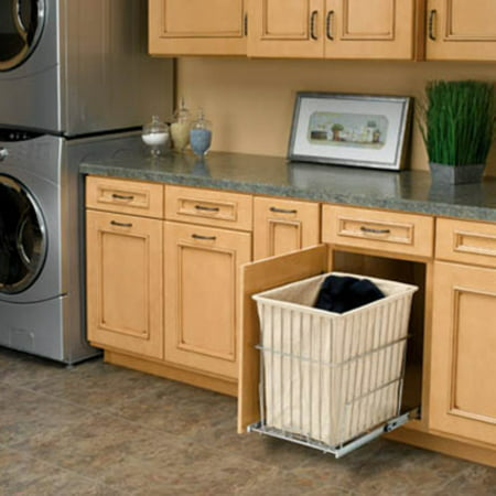 Rev-A-Shelf RHRV-1520S-CR Pull-Out Wire Hamper with Liner - Chrome