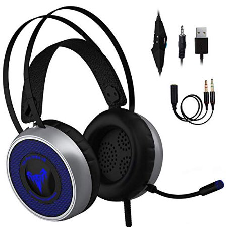 [Newest 2019] Gaming Headset for Xbox One S,X, PS3 PS4, PC with LED Soft Breathing Earmuffs, Adjustable Microphone, Comfortable Mute  & Volume Control, 3.5mm Adapter for Laptop, (Best Os For Pc Gaming 2019)