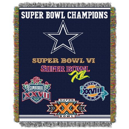 Dallas Cowboys NFL Super Bowl Commemorative Woven Tapestry Throw (48
