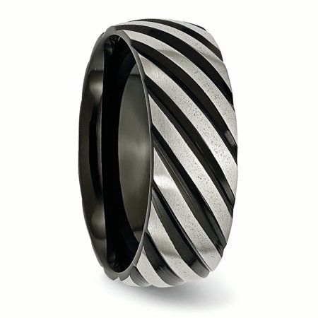 Titanium 8mm Black Plated Swirl Brushed Wedding Ring Band Size 12.00 Fancy Fashion Jewelry Gifts For Women For Her - image 7 of 10